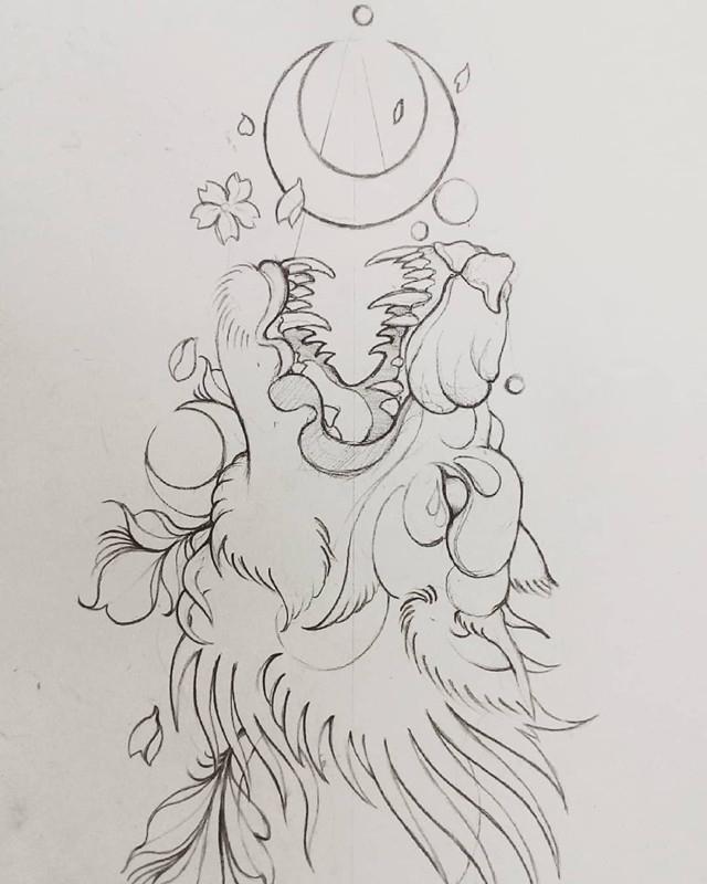 洪先生月亮龙纹身手稿