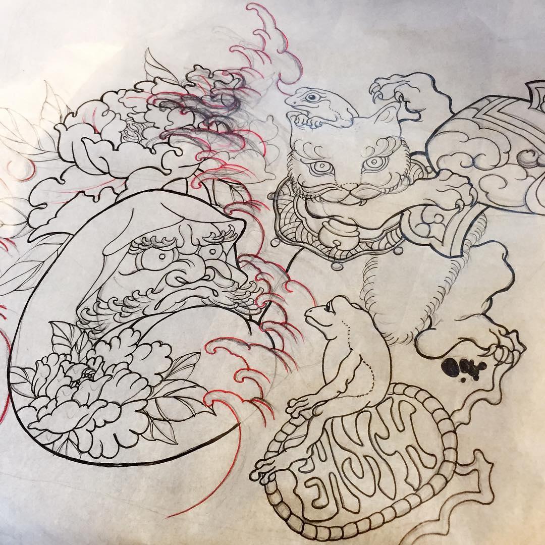 饶先生牡丹麒麟猫咪蟾蜍系列纹身手稿