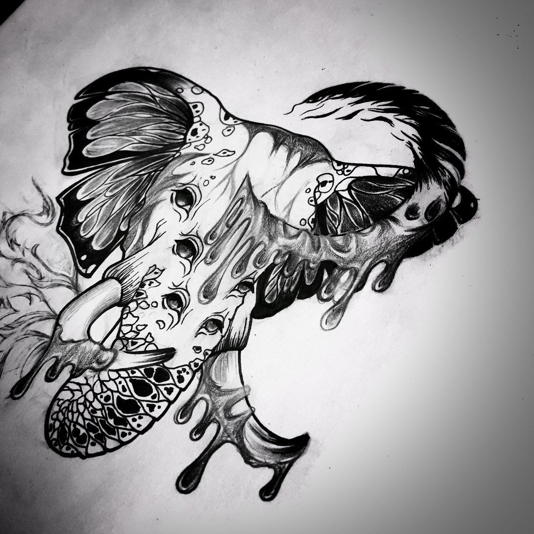 苍先生暗黑系大象纹身手稿