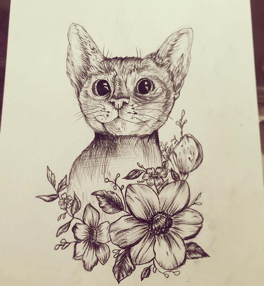 做仓库经理的吉小姐猫咪纹身手稿图片