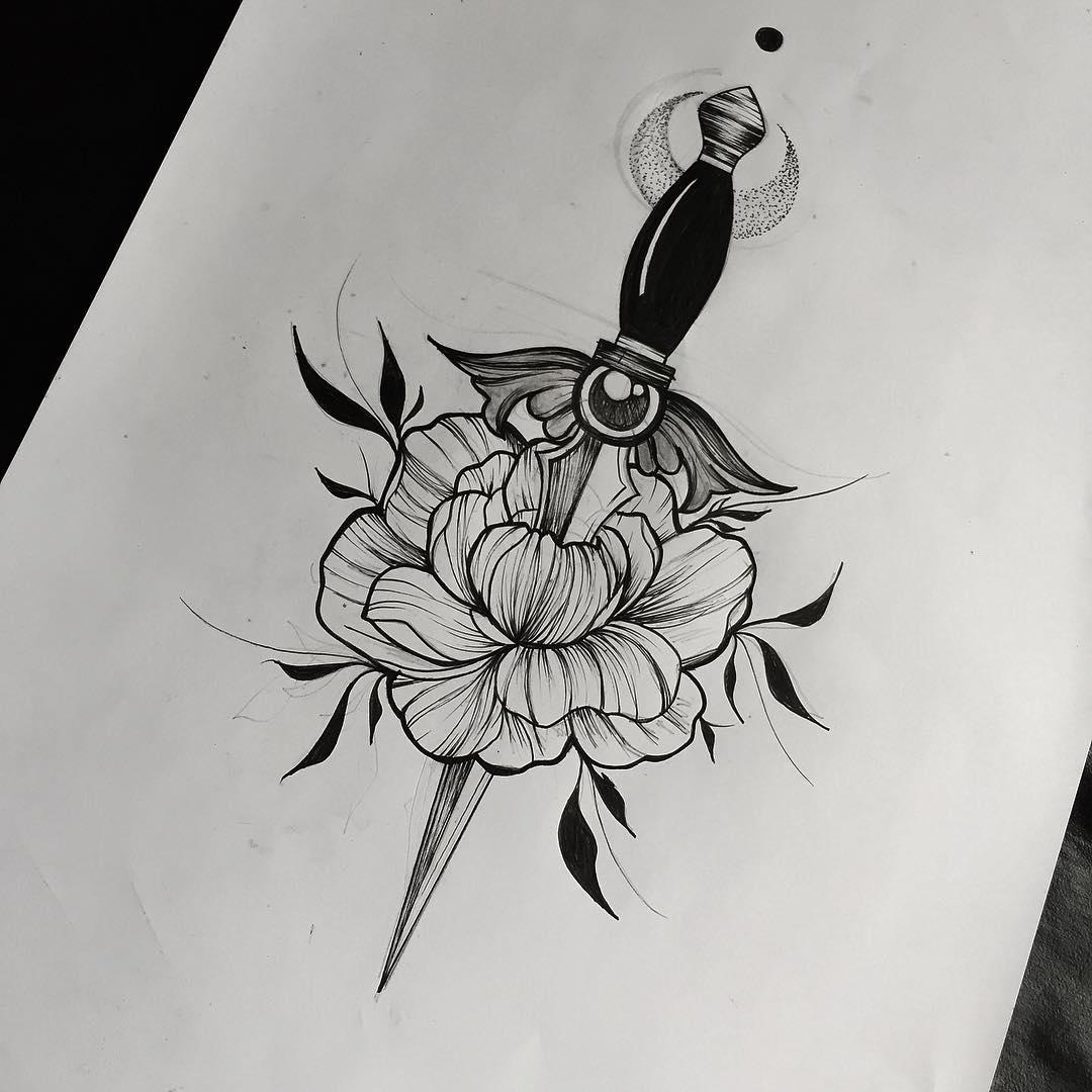 牡丹匕首纹身手稿