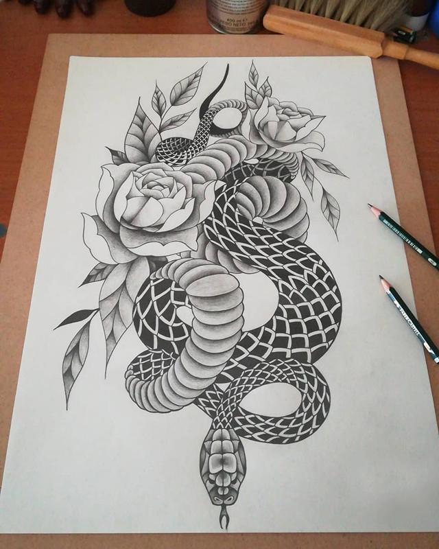 牡丹蛇纹身手稿