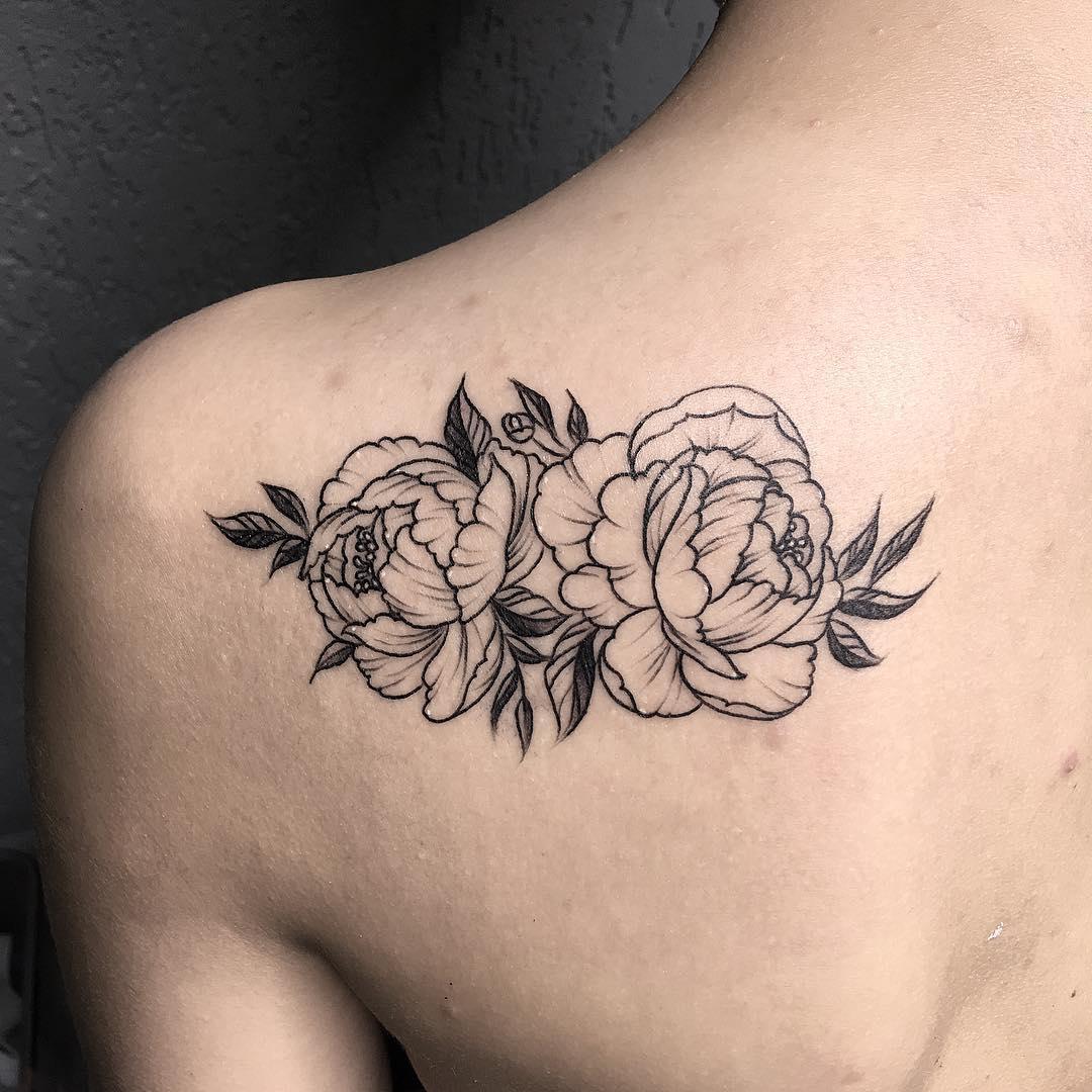肩胛新传统牡丹纹身图案