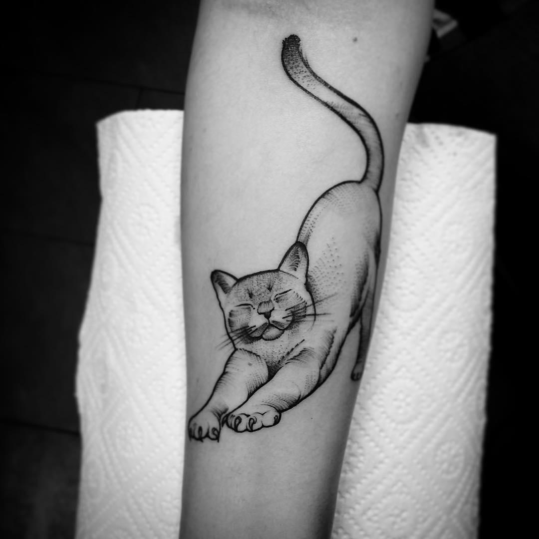 脚背newschool猫咪皇冠纹身图案