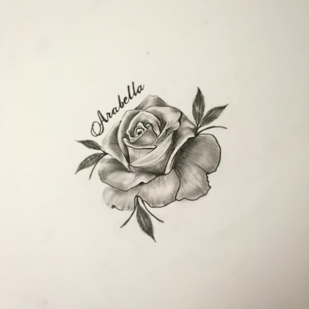 玫瑰花字母纹身手稿 - 深圳纹彩刺青