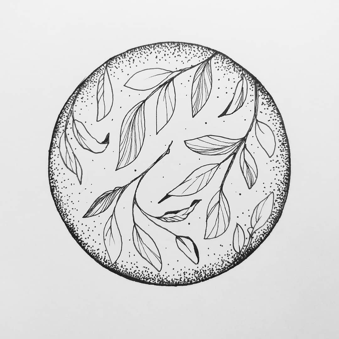圆圈点刺小清新树叶纹身手稿