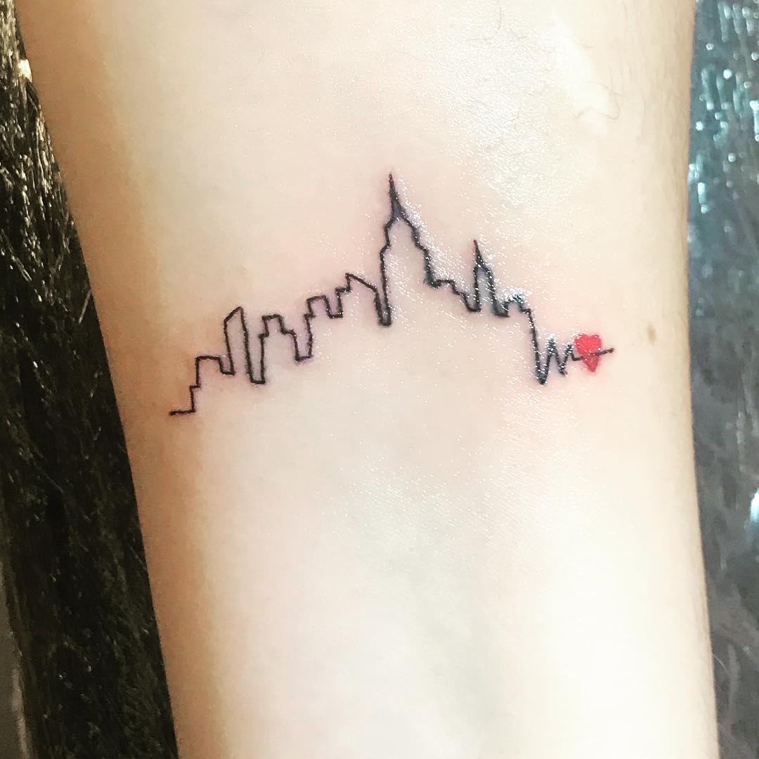 简笔画小清新城市剪影心电图纹身图案