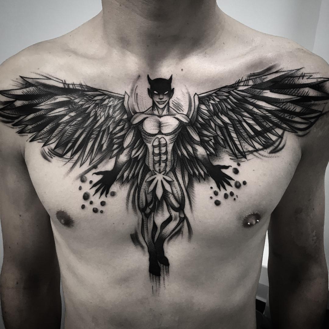 胸口黑灰堕落天使纹身图案