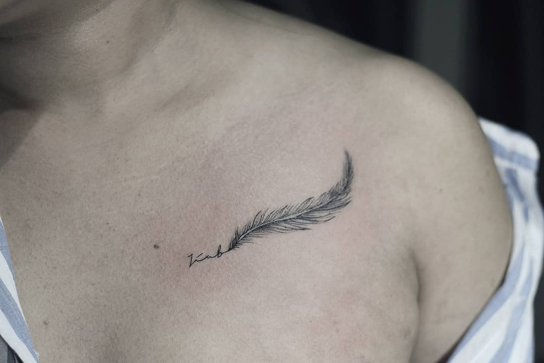 女生锁骨精致小清新字母纹身图案 - 深圳纹彩刺青
