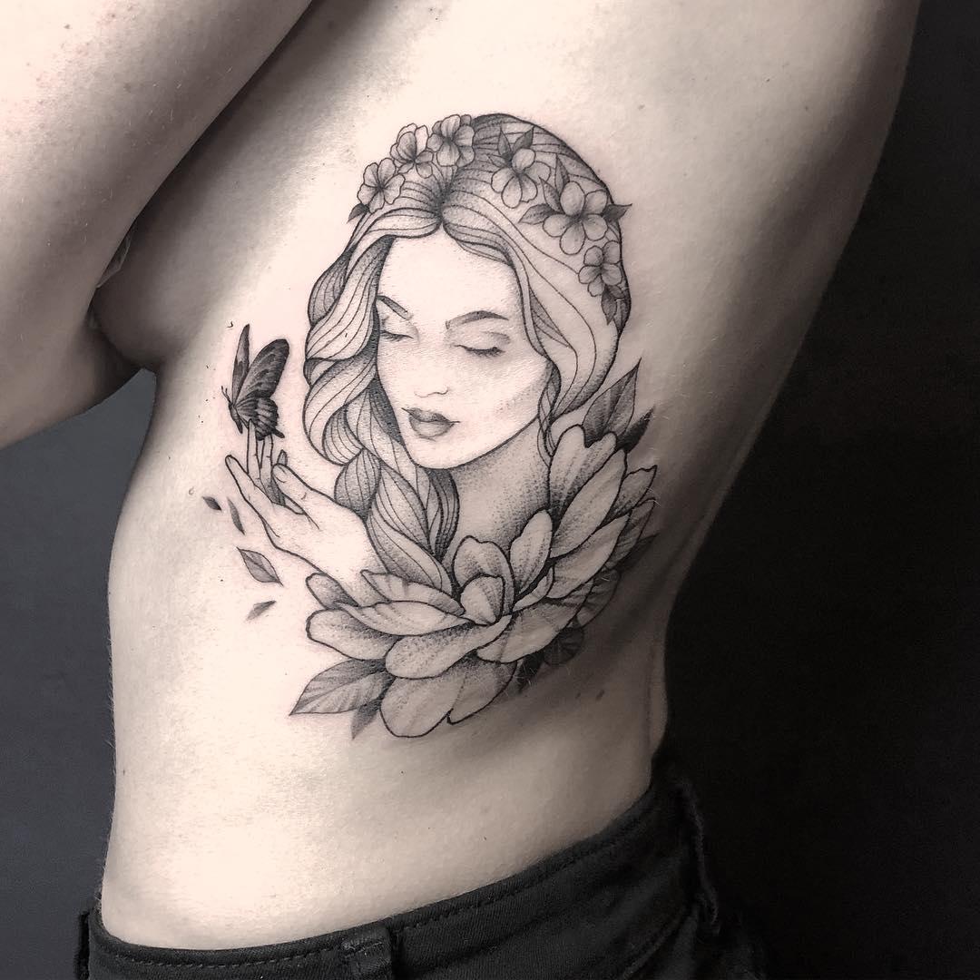 小臂黑灰牡丹龙纹身图案