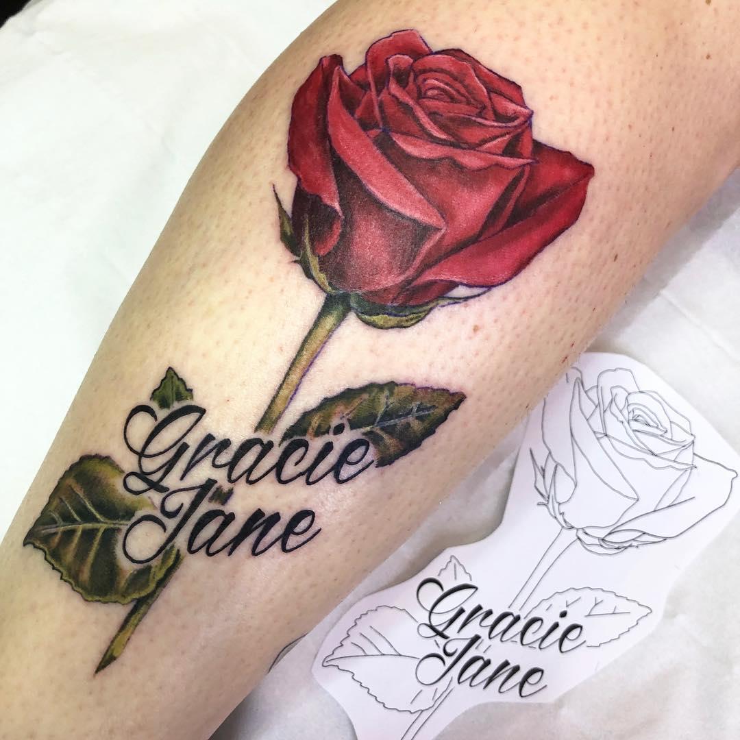 小腿小清新玫瑰纹身图案