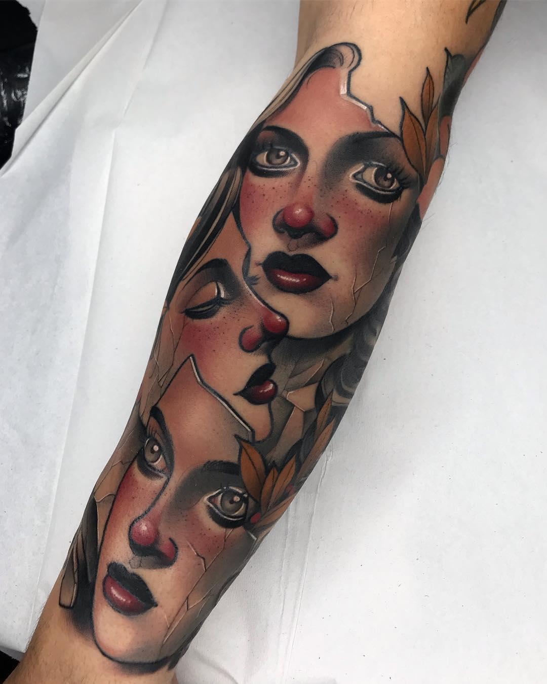 胸口肩胛美女般若面具纹身图案图片