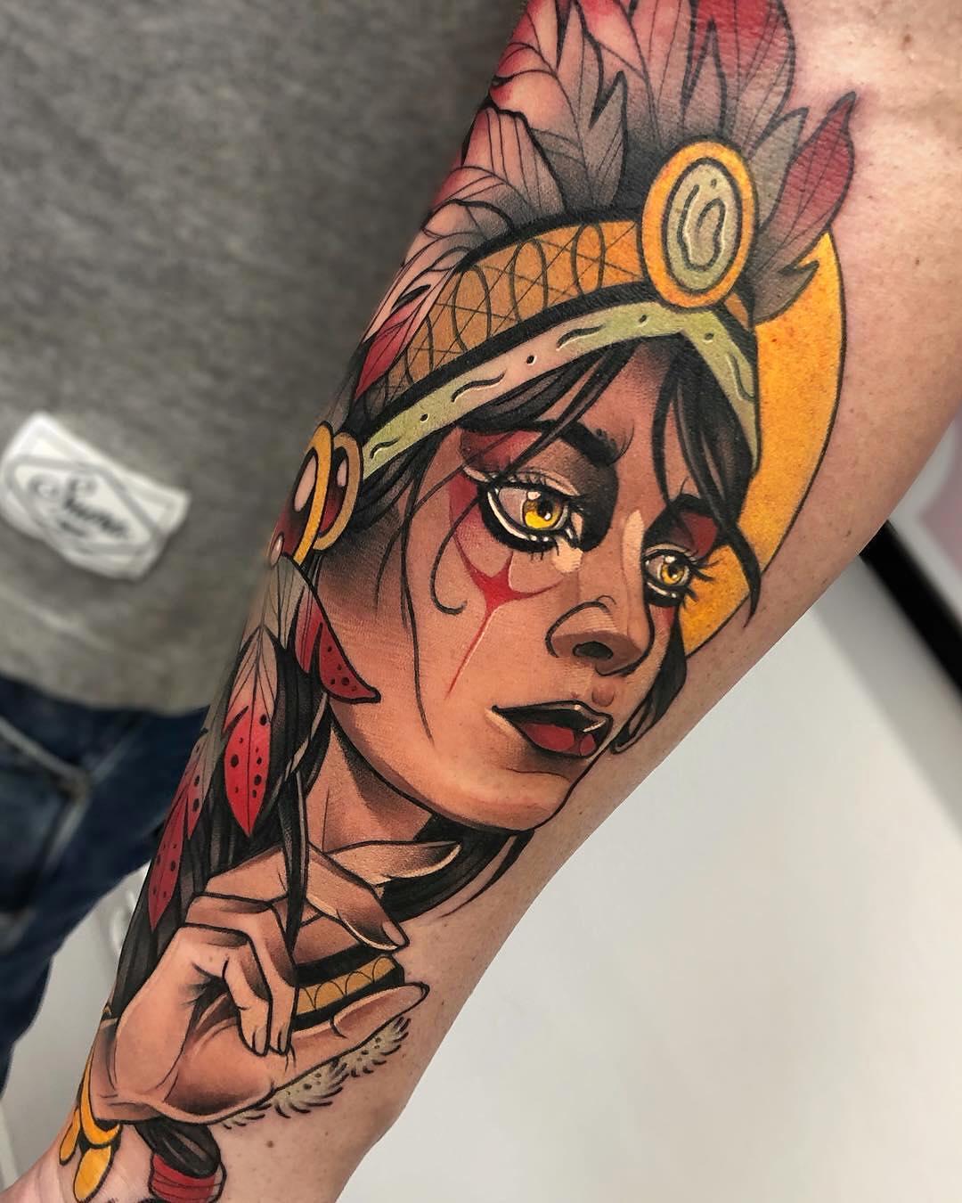 小臂彩色写实死侍纹身图案         小臂彩色写实印第安面具纹身图片