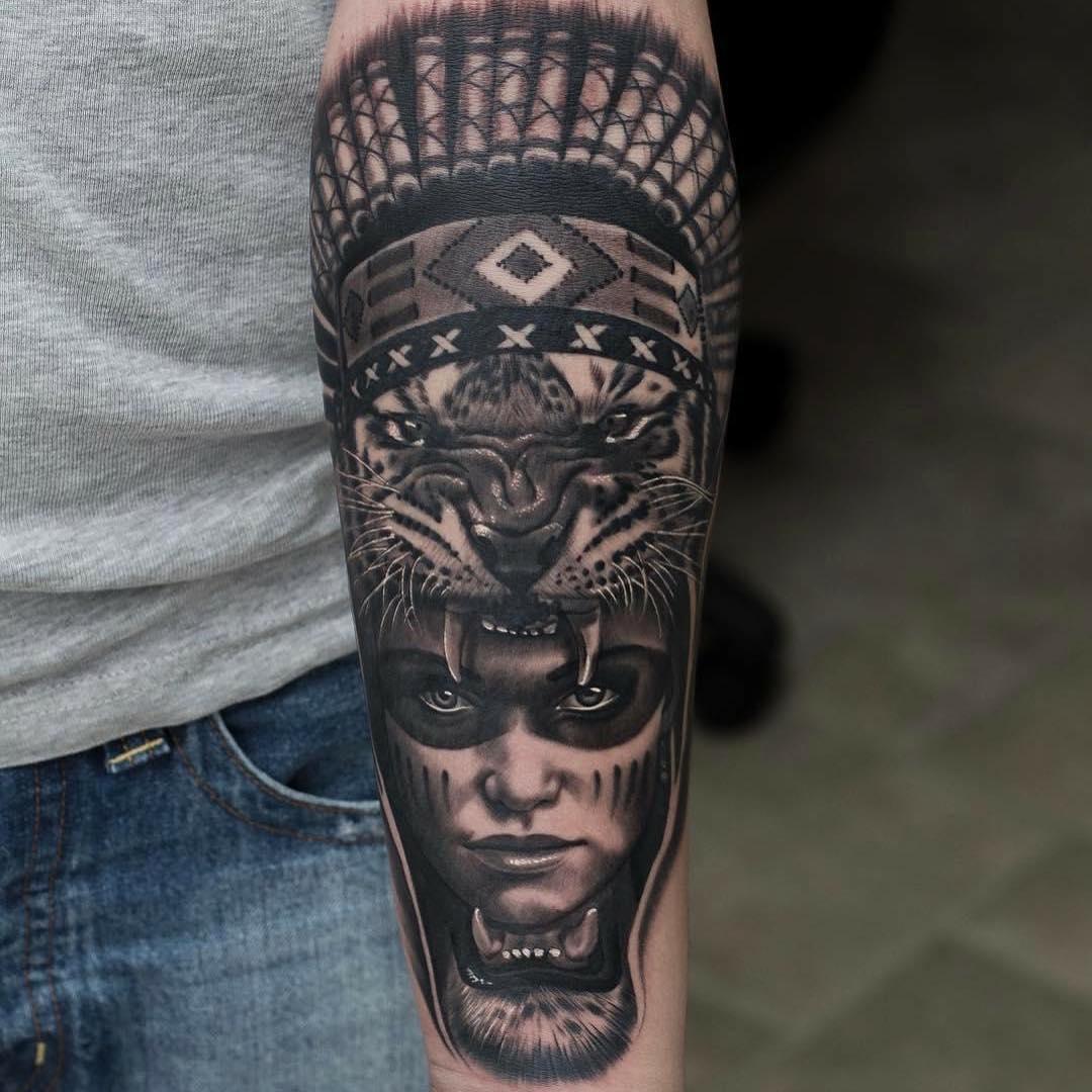 小臂黑灰写实印第安虎美女纹身图案图片