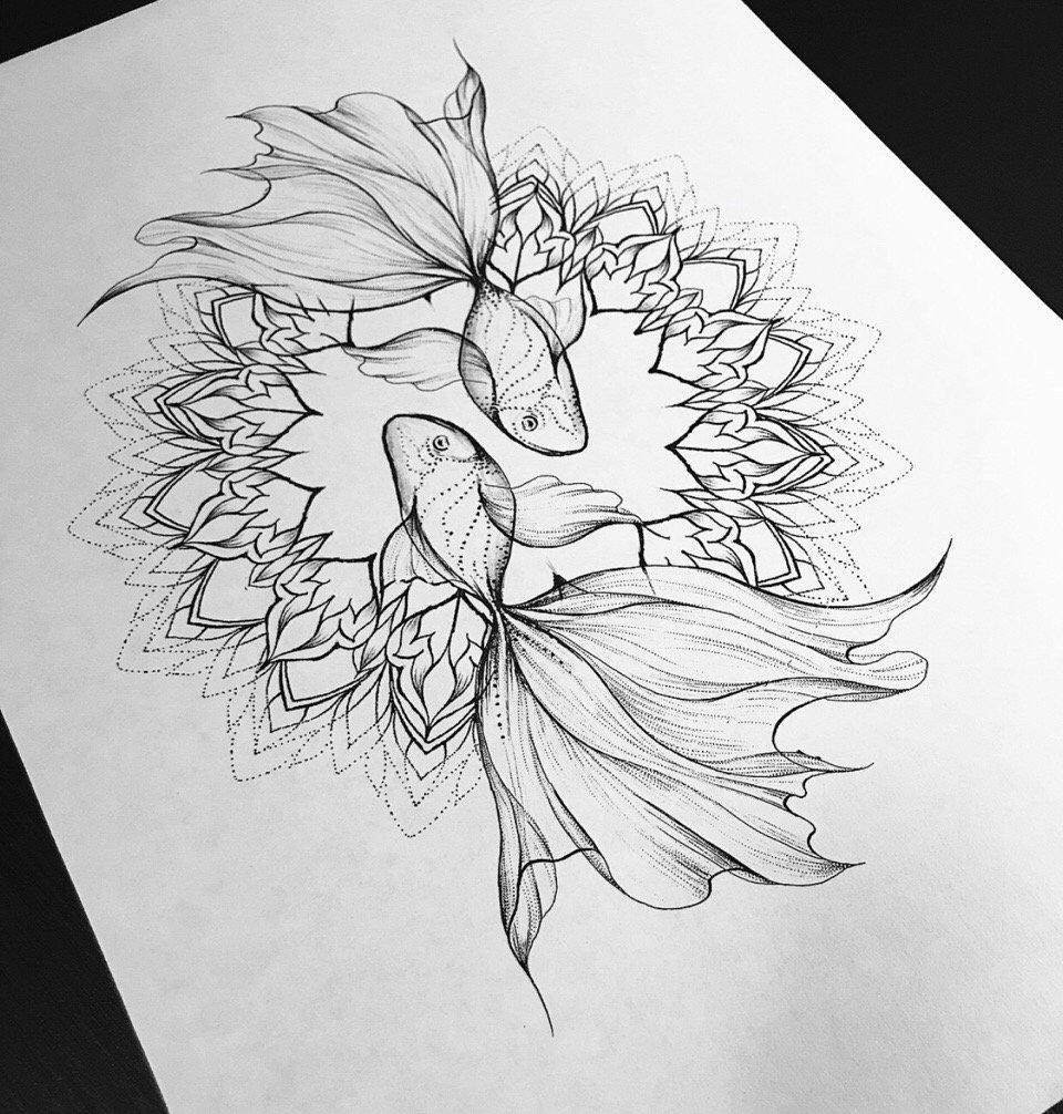 点刺风梵花金鱼纹身手稿