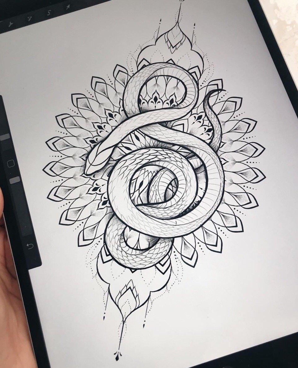 小腿欧美oldschool风格蛇纹身图案图片