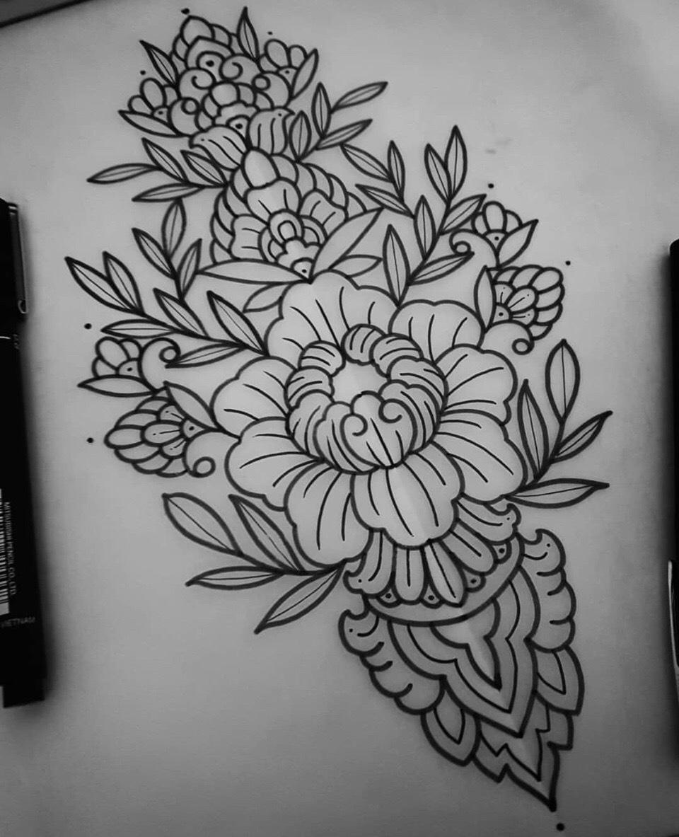 黑灰梵花牡丹纹身手稿 (3)