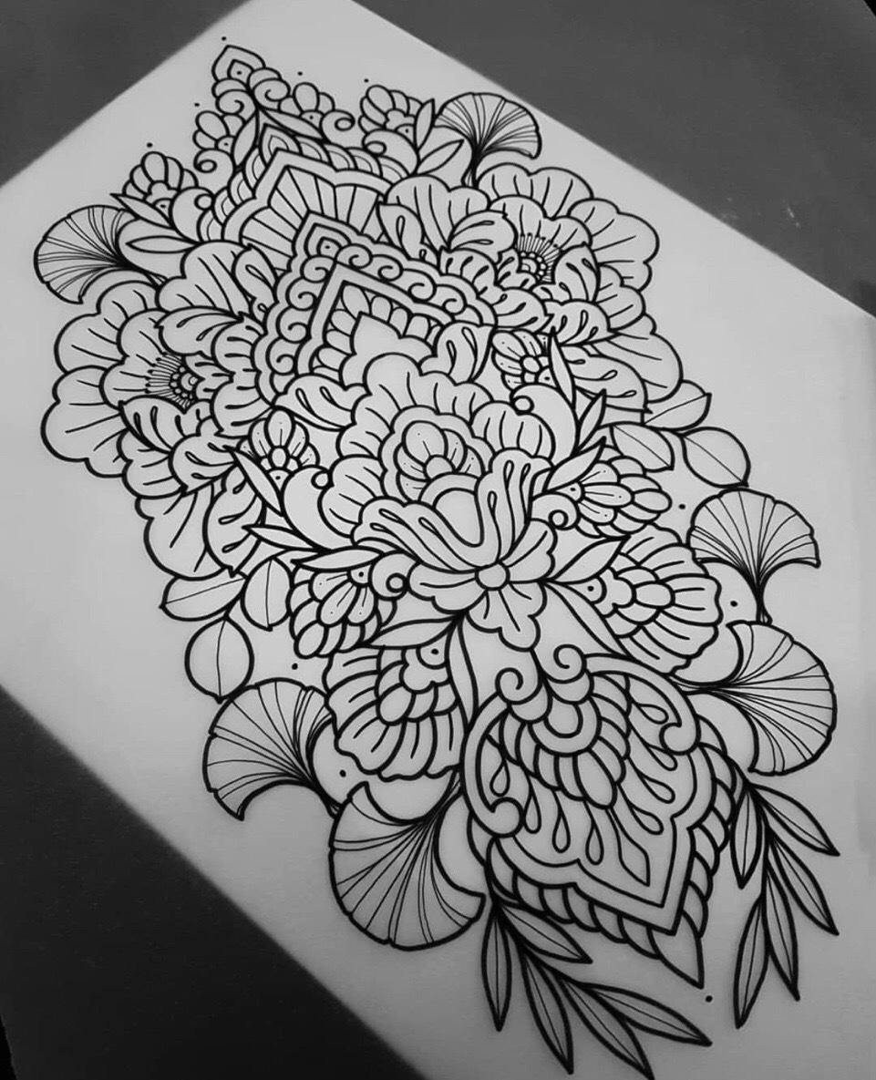 黑灰梵花牡丹纹身手稿 (7)