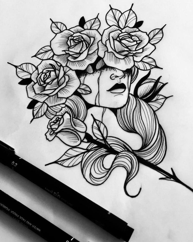 胸口彩色玫瑰匕首纹身图案 - 深圳纹彩刺青
