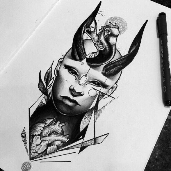 黑灰几何风美女心脏纹身手稿