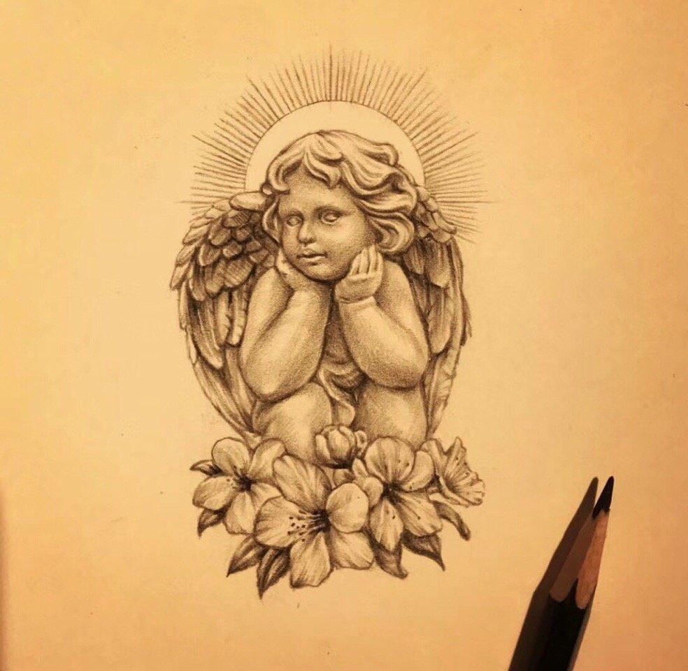 黑灰写实小天使樱花纹身手稿