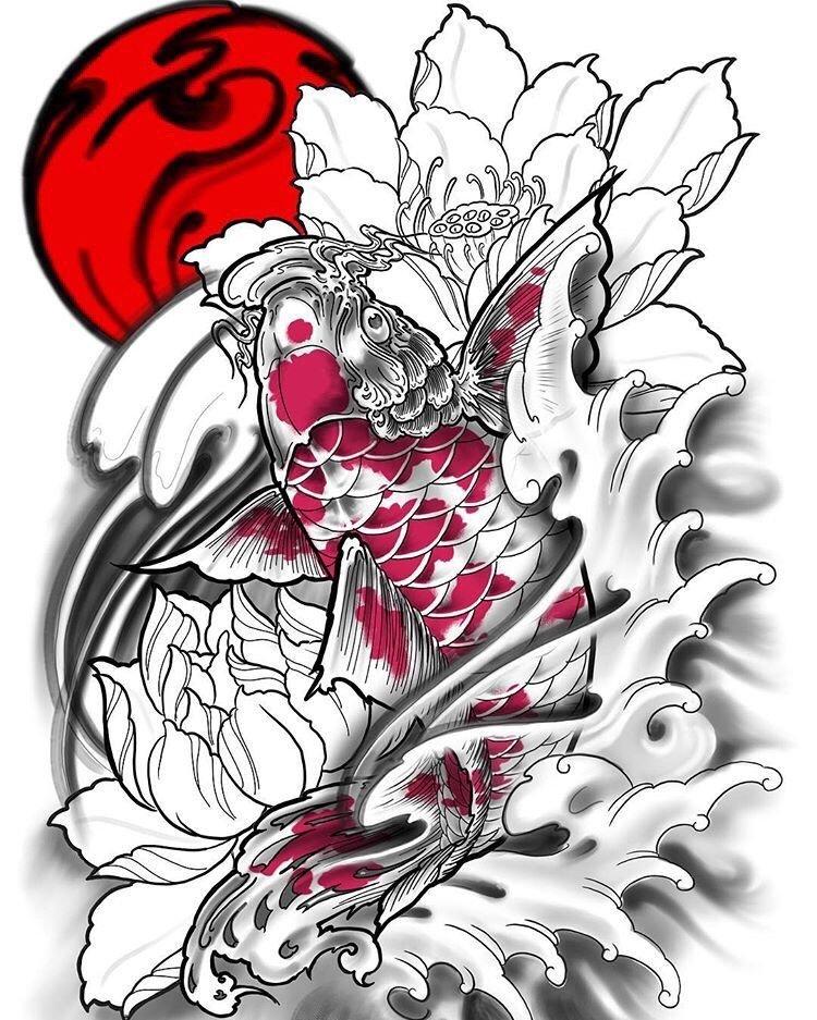 中式老传统鲤鱼莲花纹身手稿
