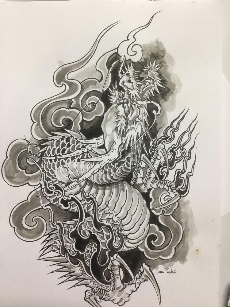 中式老传统虎纹身手稿 - 深圳纹彩刺青