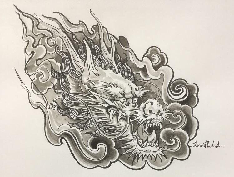 中式老传统虎纹身手稿 - 深圳纹彩刺青图片