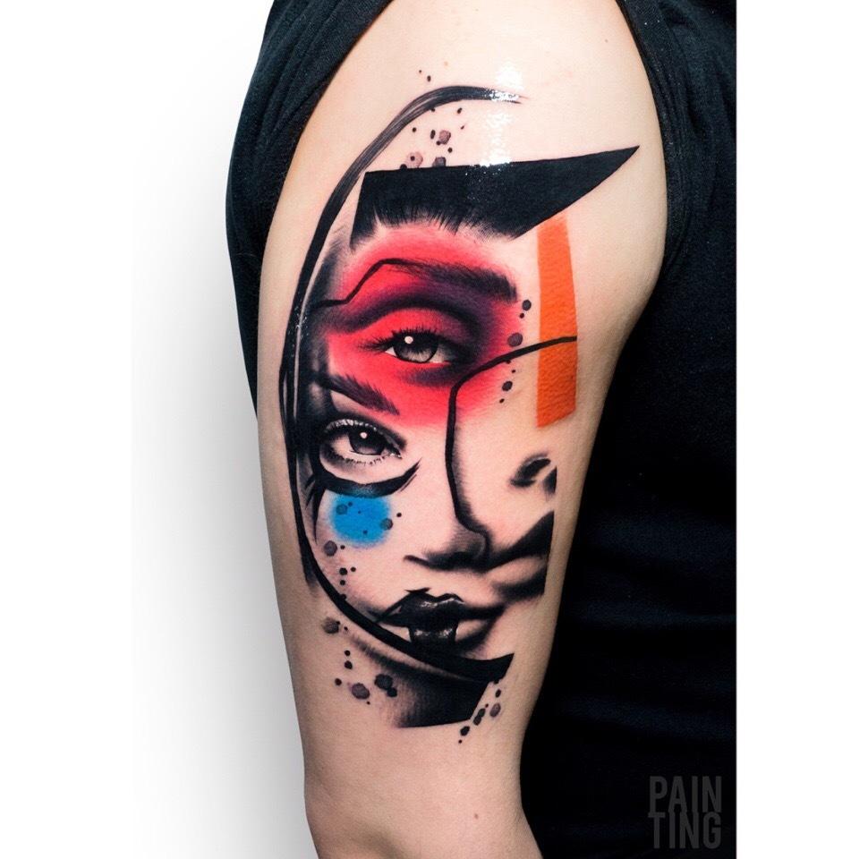 大臂水墨玫瑰纹身图案 (2)