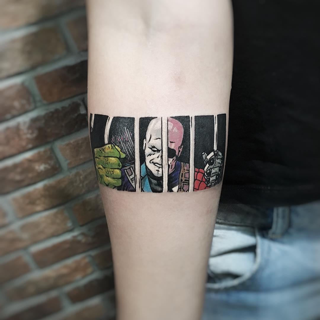 小臂电影人物臂环纹身图案
